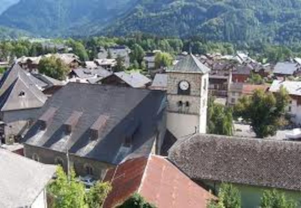 View of the village from the apline gardens
