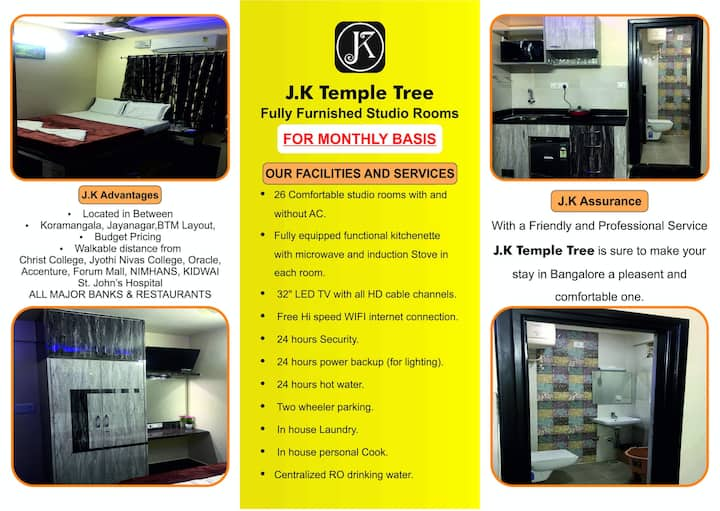🏛J K TEMPLE TREE🏛Fully Furnished Studio Rooms