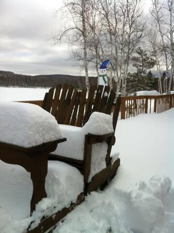 Tranquility = log home,100 acre winter Wonderland