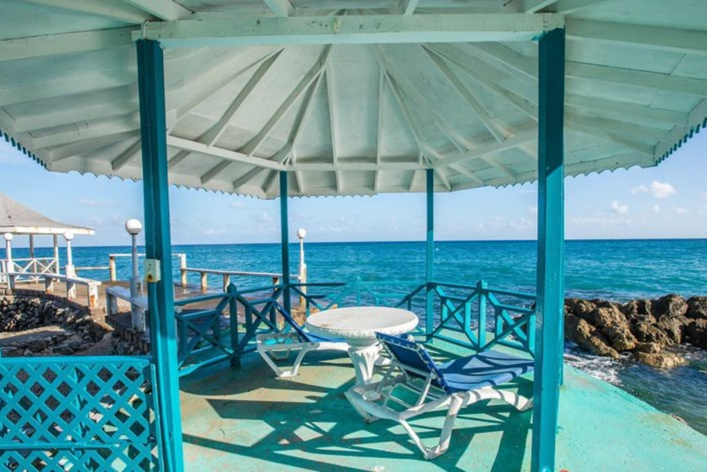 Our gazebo is perfect for morning coffee,  sunbathing or fishing.