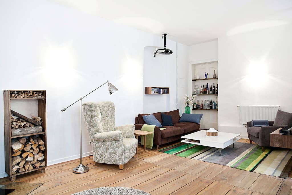 living-dining-room on the upper floor