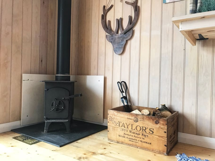 Wood burning stove inside the Shepherd Hut.