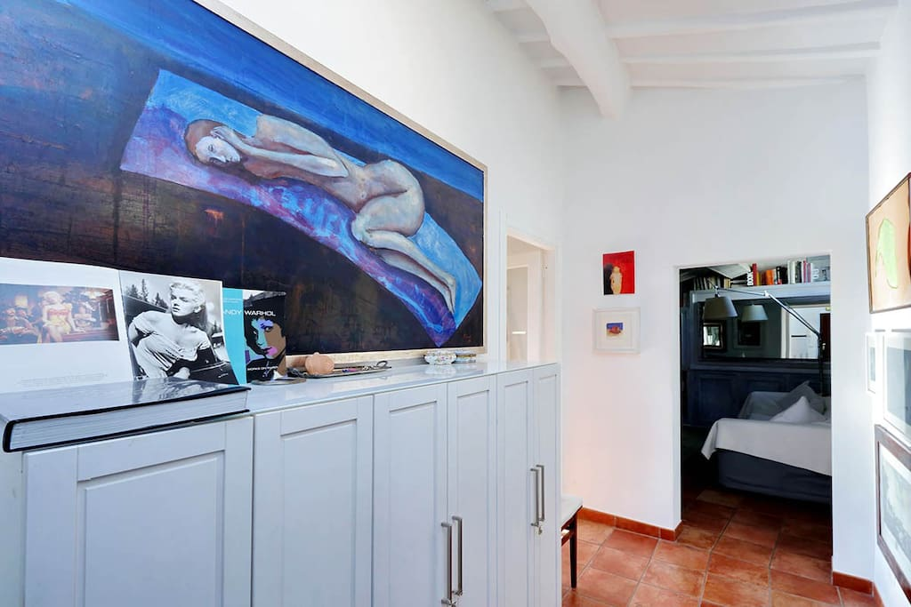 Large bedroom with art work