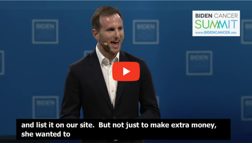 Link til en YouTube-video med Joe Gebbia, der taler på Biden Cancer Summit