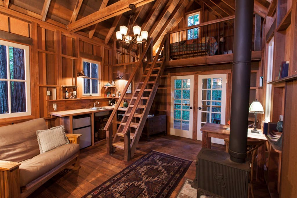 Main room with eleven steps to the sleeping loft.