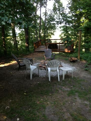 Outside Fire Pit and Deck