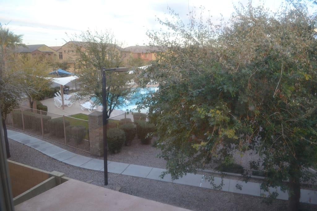 View of main pool area from the Master bedroom window