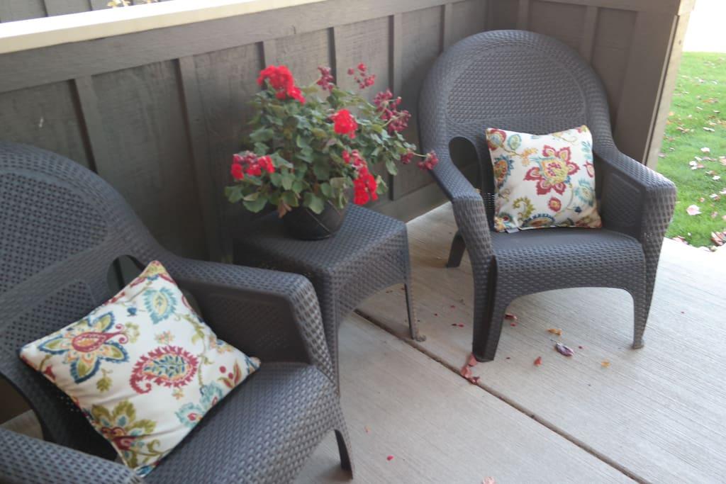 Front porch, great for enjoying Bozeman's long summer evenings.
