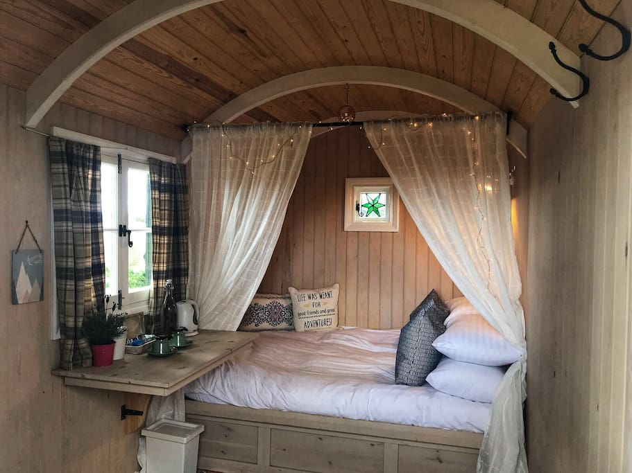 Double bed inside the Shepherd Hut.