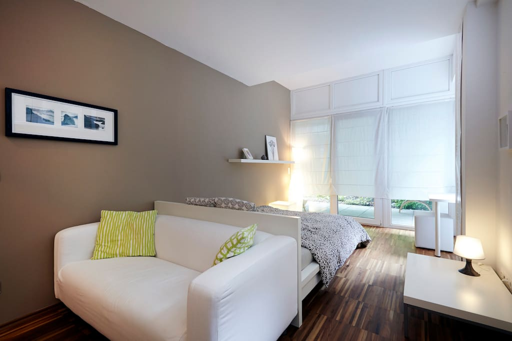 Maste bedroom, all rooms have a view to the private garden