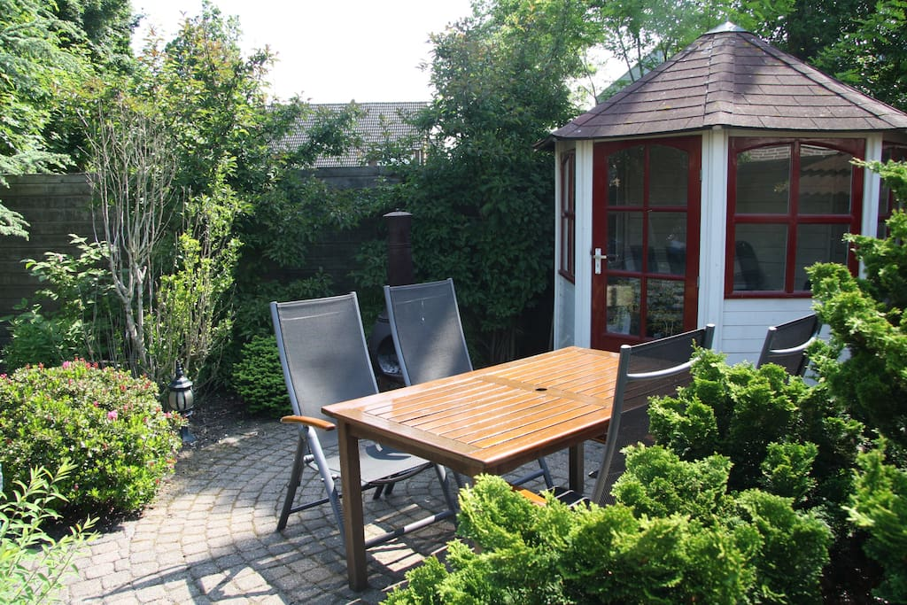 Comfortable chairs and lounger, with cushions you will find in the garden shed.
