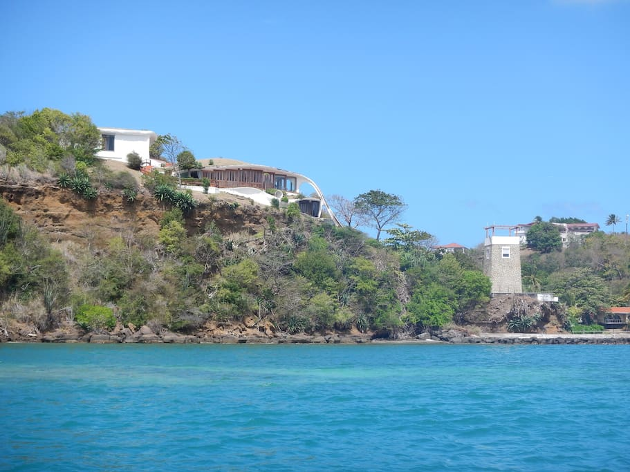 Set on a private peninsula with private dock, private man made beaches and pool with swim up bar.  Completely private.