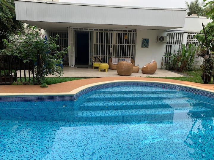 Villa 1 chambre  jardin, piscine