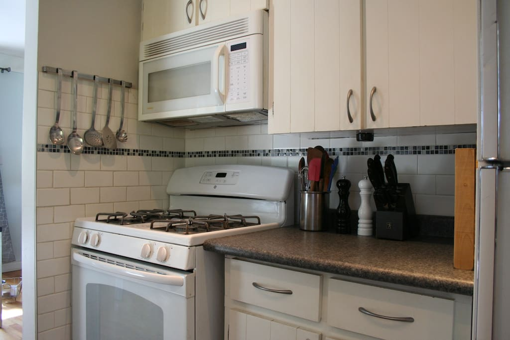 Gas oven, stove top and microwave