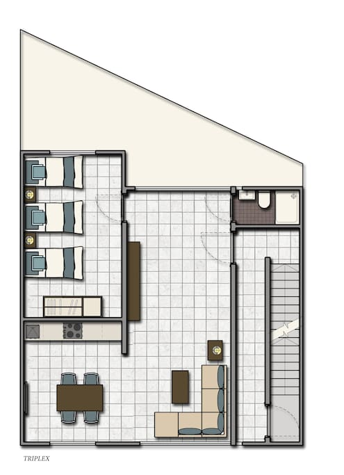 Layout Plan of the F4 - Triple Apartment - Sleeps 3/4.- Actual furniture layout has changed