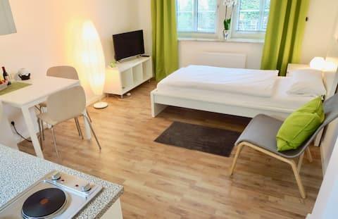 1-pokojowy apartament z kuchnią, bezprzewodowym dostępem do Internetu i prywatnym dostępem