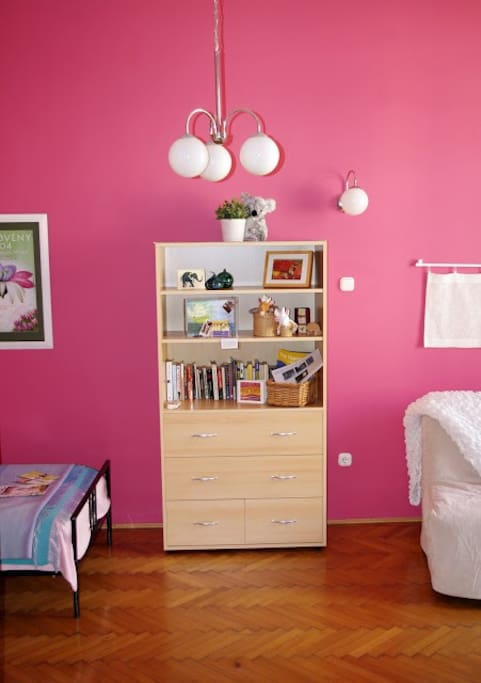 Pink Room with books to share