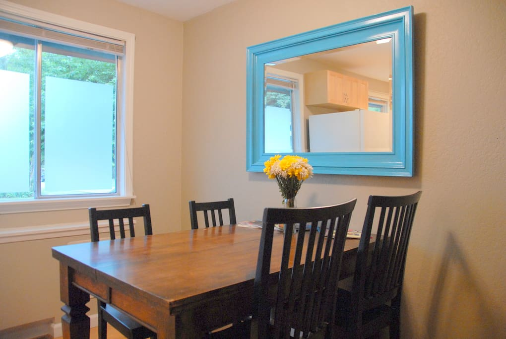 Eat, read, work or play in the dining area adjacent the kitchen