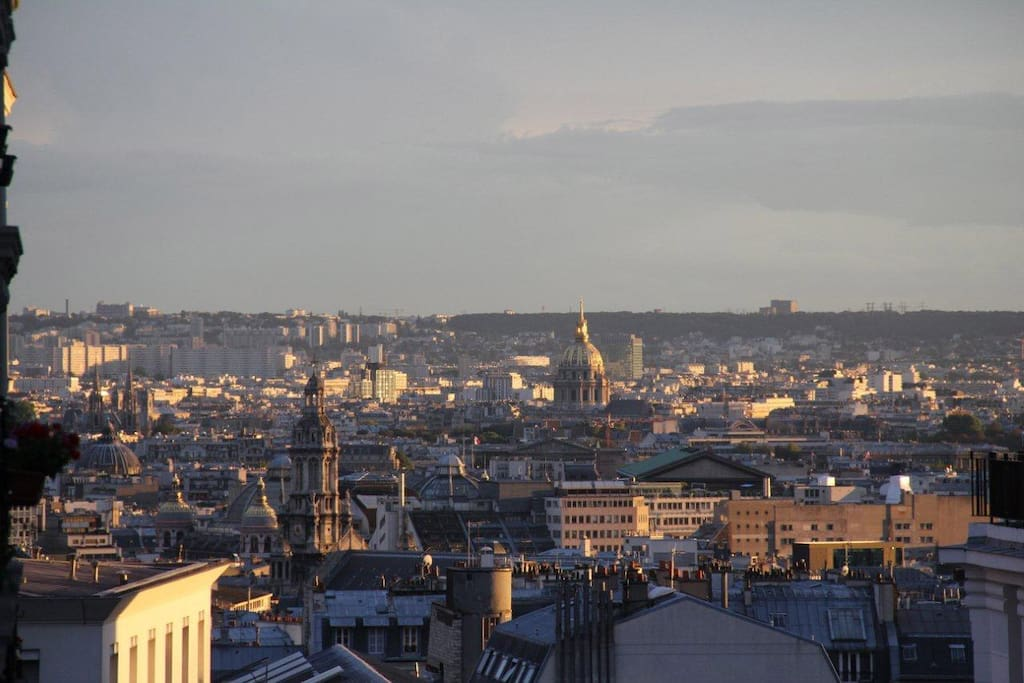 The view from the balcony, a close up on the Opera, Notre-Dame, Les Invalides, Le Louvre, Madeleine...