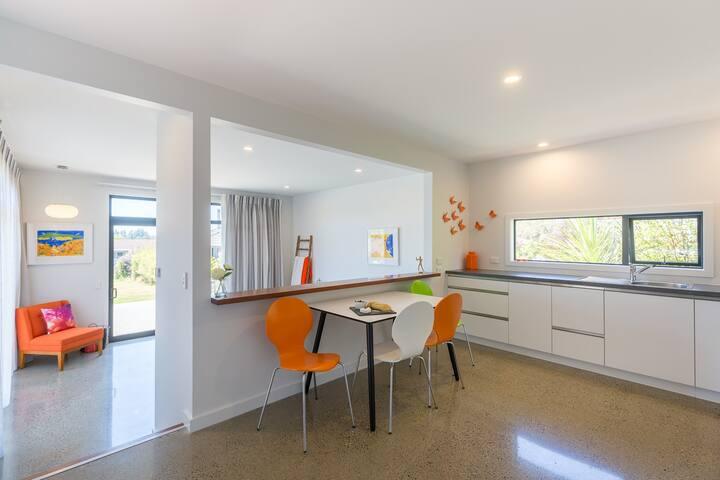 Orange Apartment Dining Area