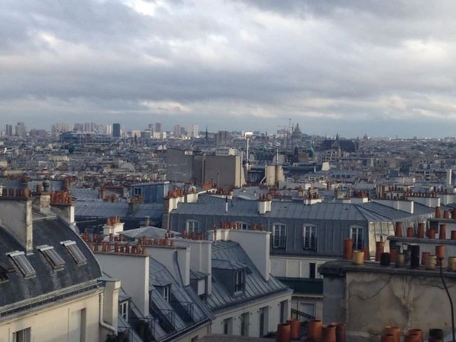 From the bow window of the living room you 'll see the louvre, beaubourg, the skies of Paris