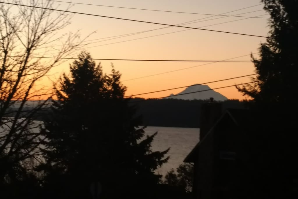 View of Mt Rainier from the living room window.