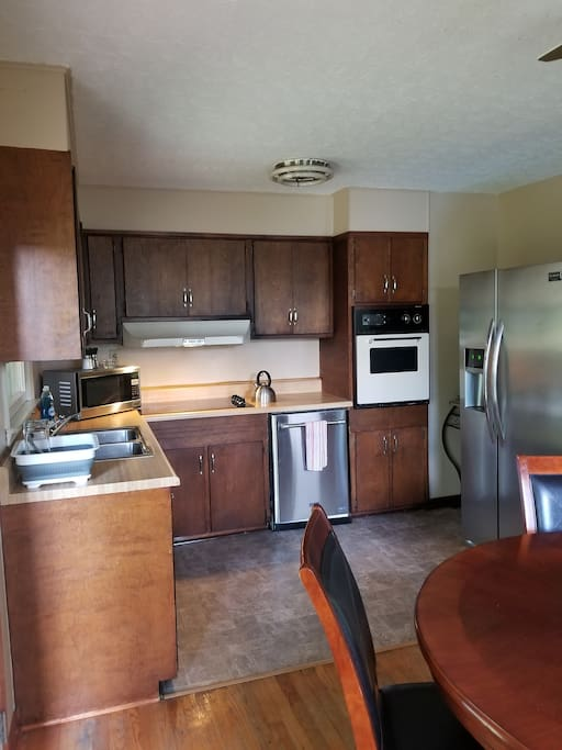 Kitchen with all the standard amenities.  Stove, oven, dishwasher, refrigerator and Keurig.