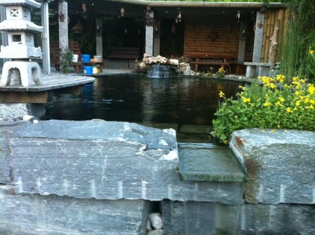 Koi Teich, Schwimmteich, Pergola, Wintergarten