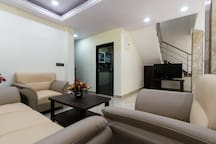 sitting area with TV
