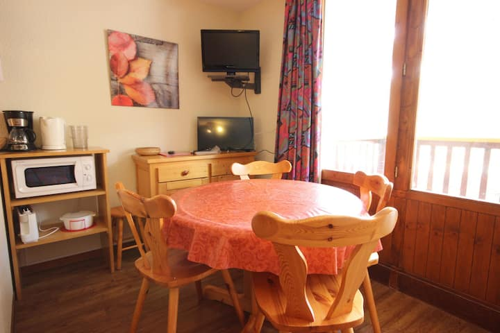 Studio for 4 persons in Vallandry center and close to the pistes