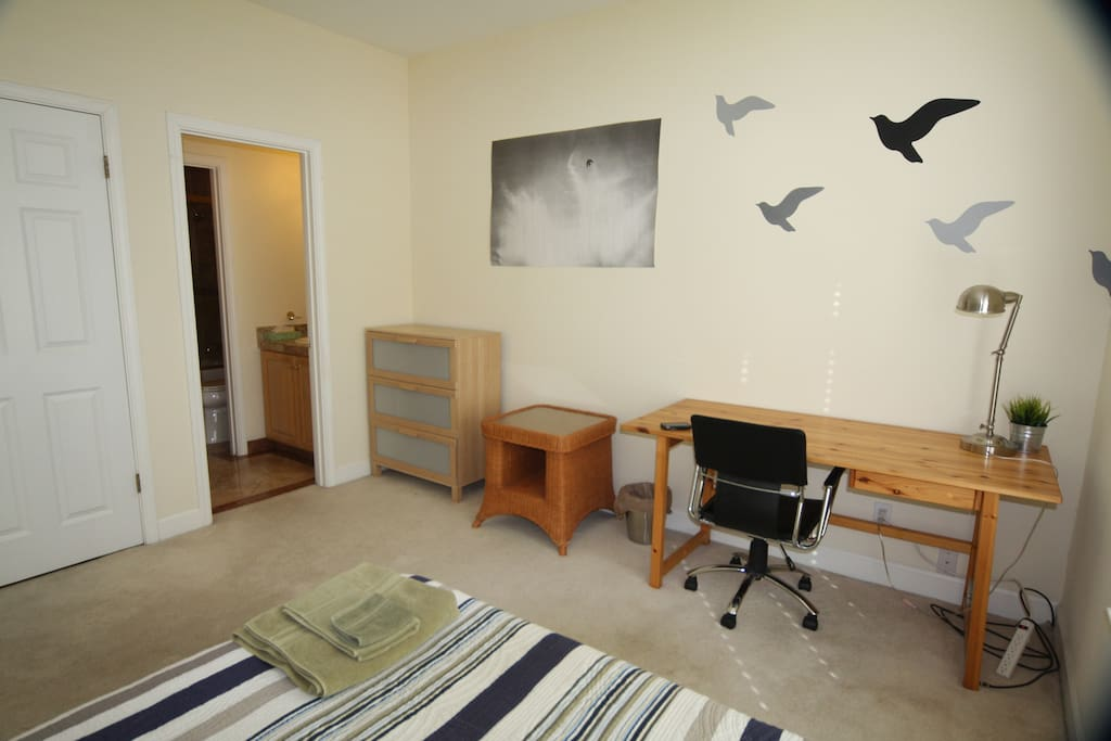 Room is large enough for big desk and another twin bed, in case you need one. Entrance to own private bath inside your room.