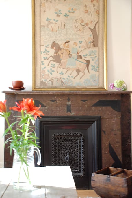 Living Room Antique Fireplace