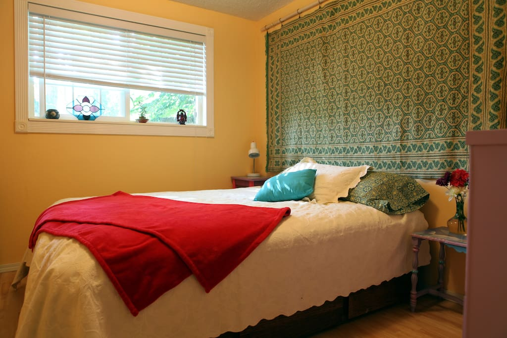 Very comfortable Q bed in your room.