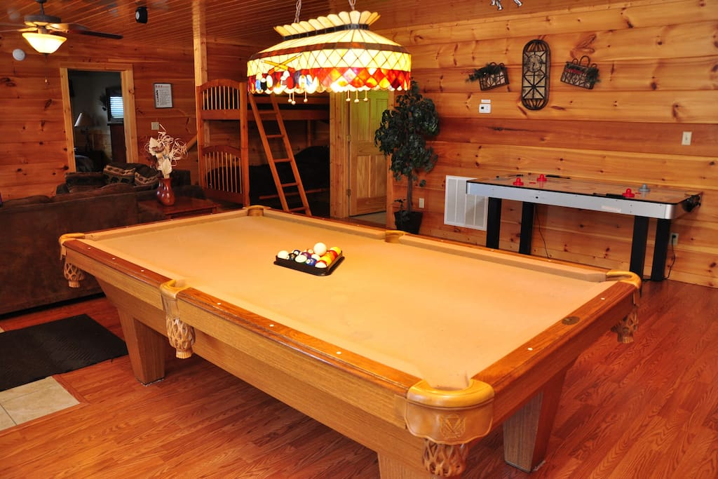 Game Area with Pool Table, Air Hockey Table, Large Screen HD and Surround Sound