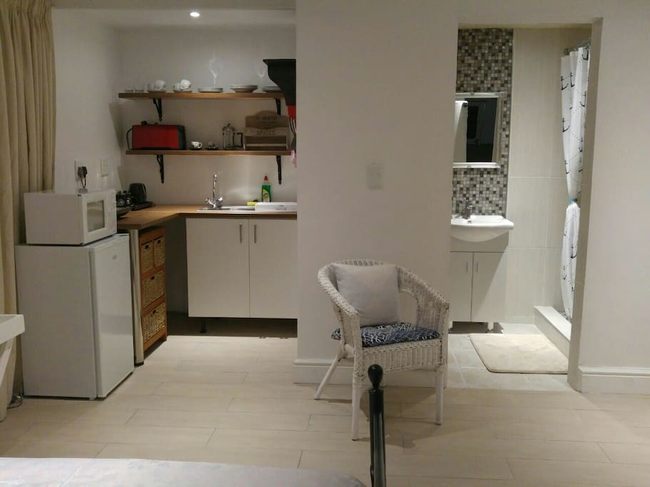 Spacious bedroom, kitchenette and large shower