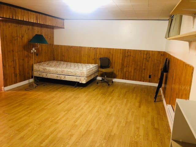 Big basement room with private half bathroom