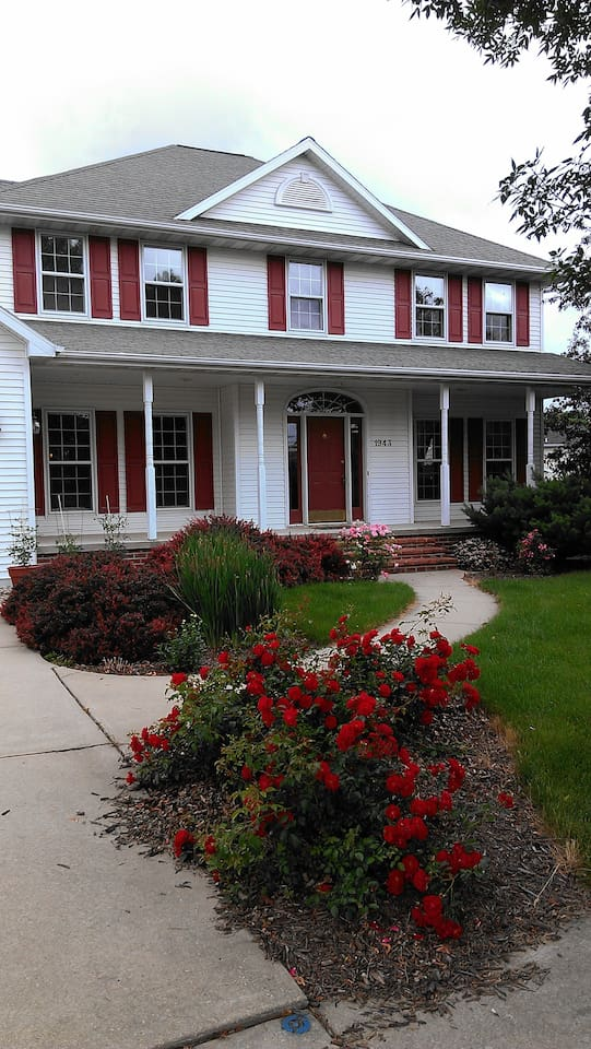 Our home with roses in bloom
