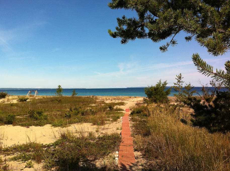 View from our home's large deck / patio!  Wonderful & private sandy beach with North, South Manitou Island Views