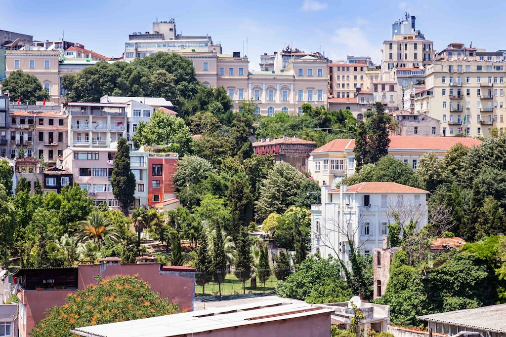 view of Galata gardens from the balcony