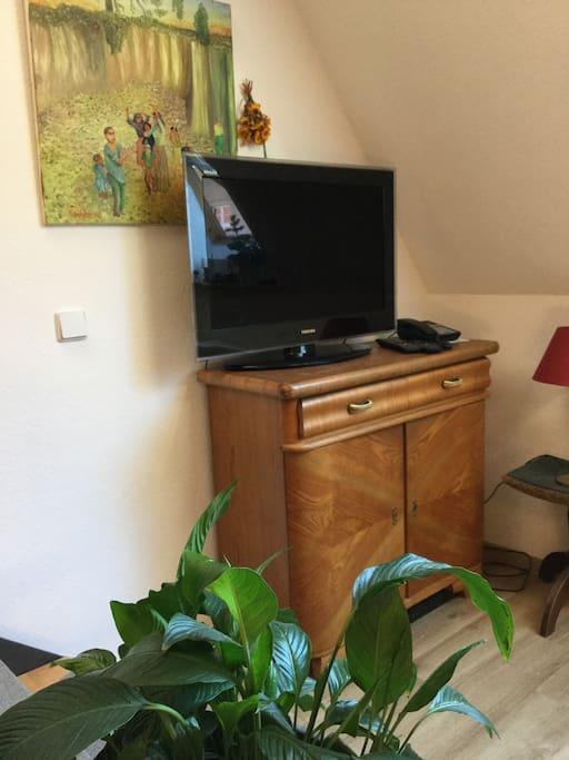 Gegenüber von Esstisch steht der Fernseher