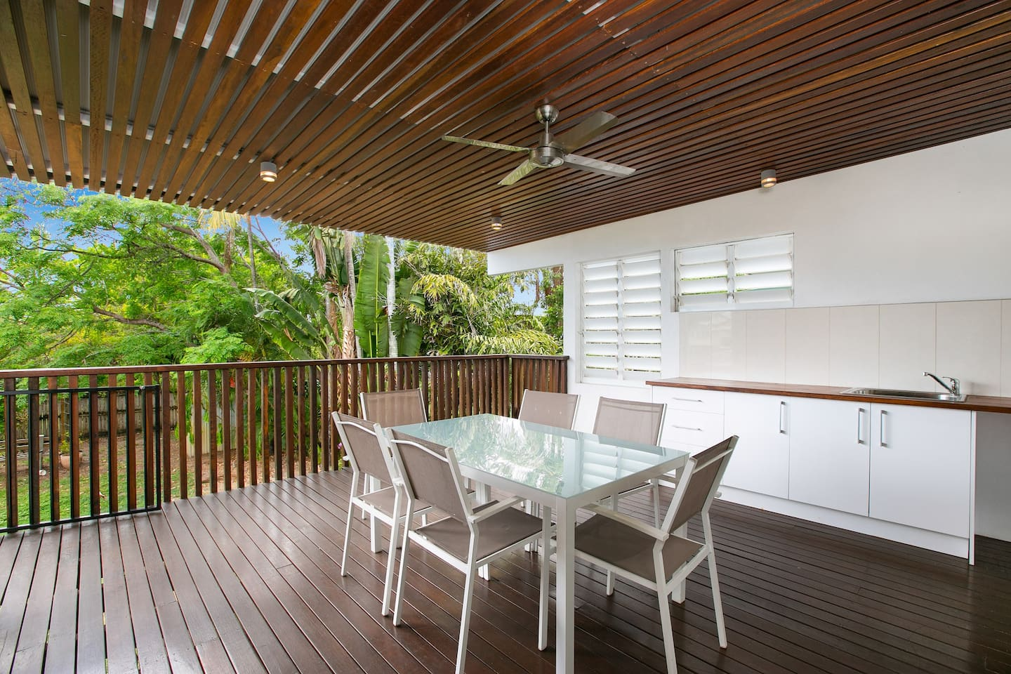 Enjoy outside dining on this lovely deck overlooking the garden