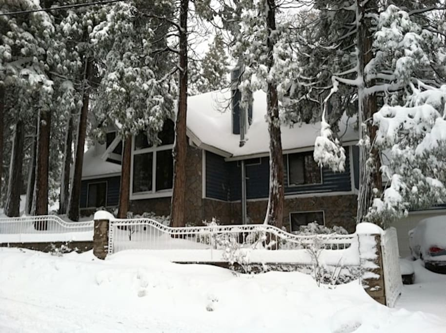 Cozy cabin nestled in the forest in winter time