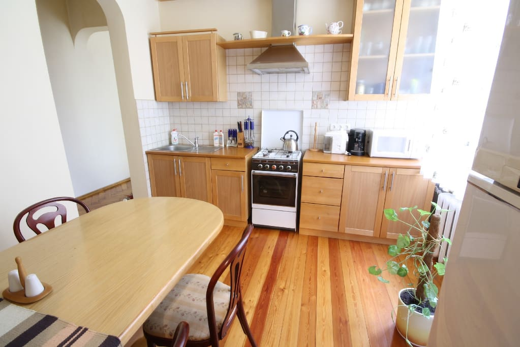 Kitchen, fully furnished, main equipments added +coffe maker