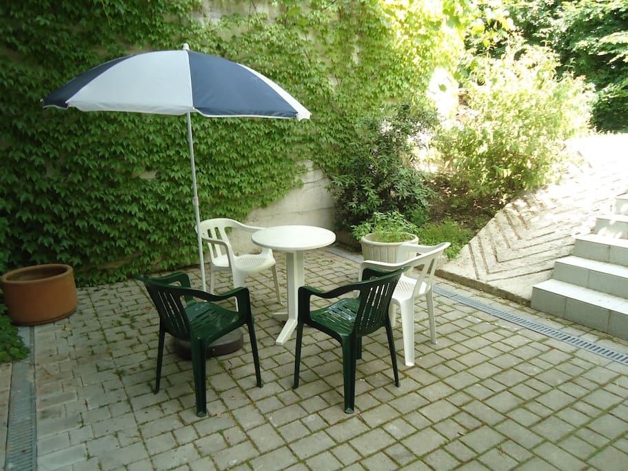 Private terrace in the shade