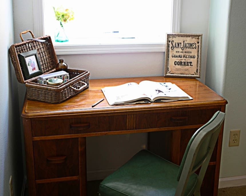 The Ladd room--library desk gives a feel of the 1910 era when our house was built.