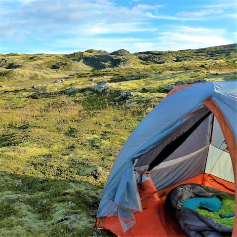 Tent with Touring bike