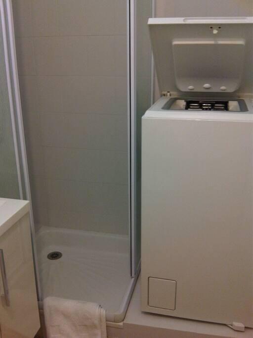 Shower and washing machine