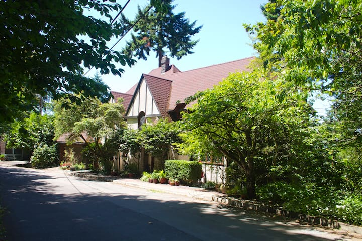 Tudor Revival home built in the late 1920s photographed by Airbnb about  ten years ago.  Storms have taken out two of our visual barrier trees.