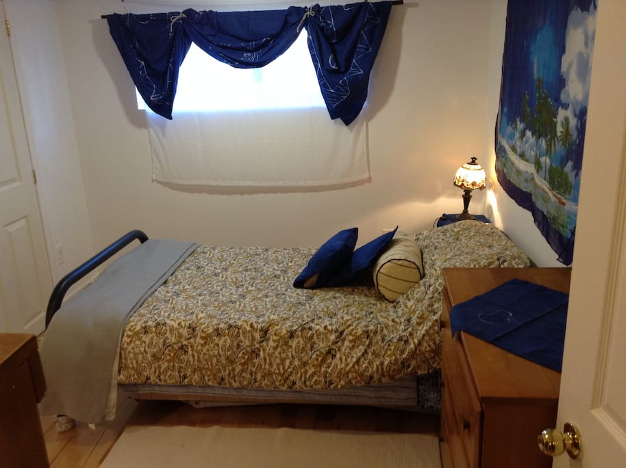 Bright single guest bedroom complete with large closet, dresser, bookcase, night table.. cozy!