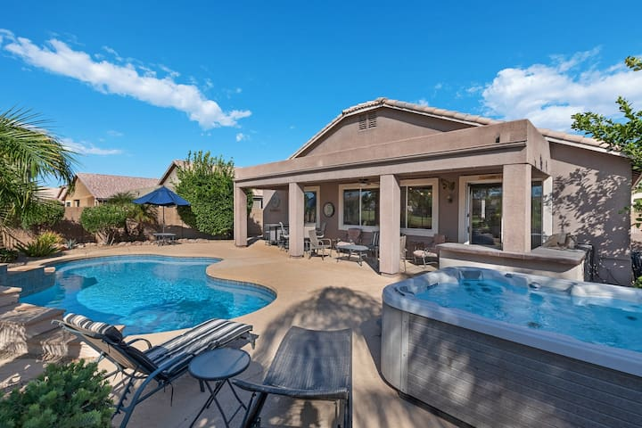 Luxury home w/gorgeous views of golf course & private heated pool!
